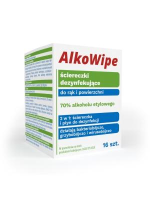 AlkoWipe ściereczki dezynfekujące do rąk i powierzchni 70% alkoholu etylowego - 16 szt AlkoWipe