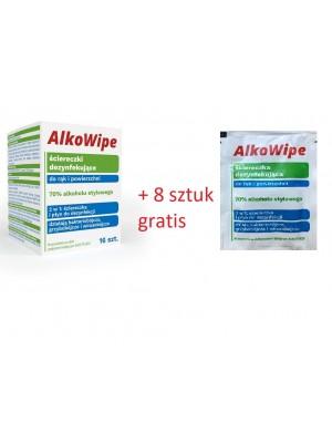 AlkoWipe ściereczki dezynfekujące do rąk i powierzchni 70% alkoholu etylowego - 16 szt AlkoWipe + 8 sztuk gratis